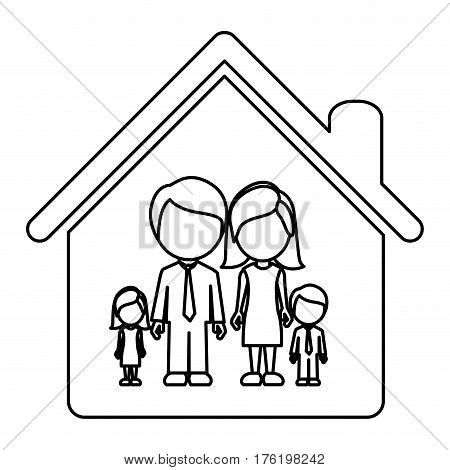 monochrome contour of faceless family group in home vector illustration
