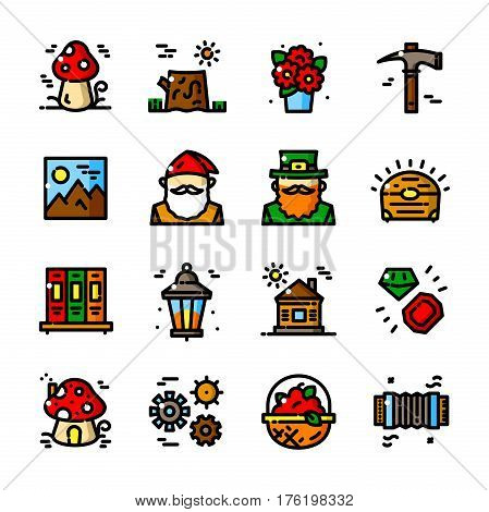 Thin line Gnome icons set, Fairyland Little People outline logos isolated vector illustration