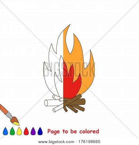 Bonfire to be colored, the coloring book to educate preschool kids with easy kid educational gaming and primary education of simple game level.