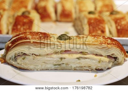Pizza ciabatta puffed green olives Savory Sauce