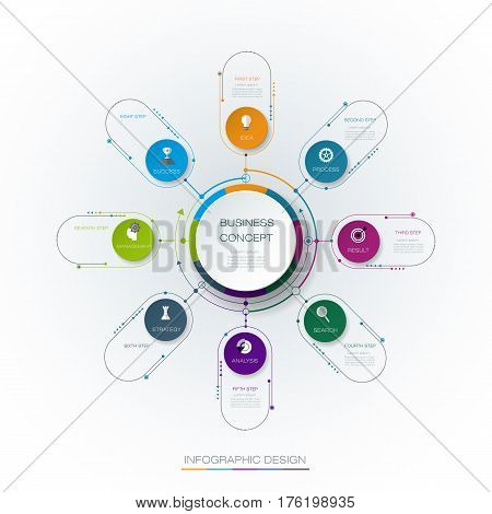 Vector infographic template with 3D paper label integrated circles. Business concept with options. For content, diagram, flow chart, steps, parts, timeline, infographics, work flow, process