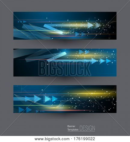 Abstract banners set with image of speed movement pattern and motion blur over dark blue color. Science, futuristic, energy technology concept. Vector background for web banner, template or brochure