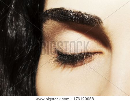 Closed Eye Of Beautiful Young Caucasian Woman