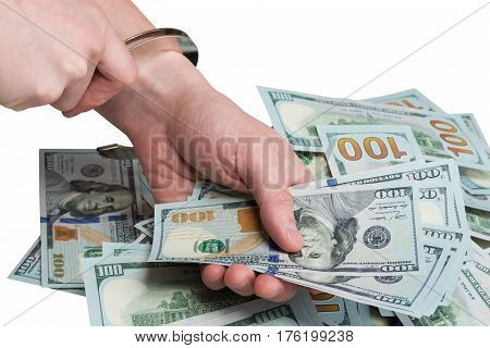 into the hands of wear handcuffs Dollar bribe white