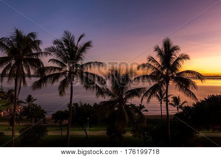 Sunrise on tropical beach The Strand, Townsville, Australia