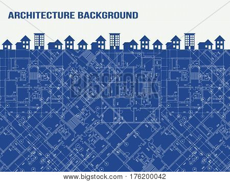 Background with blueprint and buildings. Vector illustration.