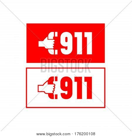Two label with the number 911. Vector illustration.