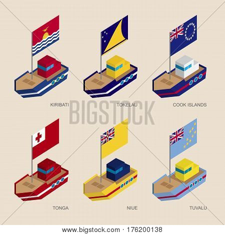 Set Of Isometric Ships With Flags Of Countries In Oceania