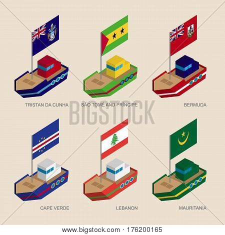Set Of Isometric Ships With Flags Of Countries In Atlantic