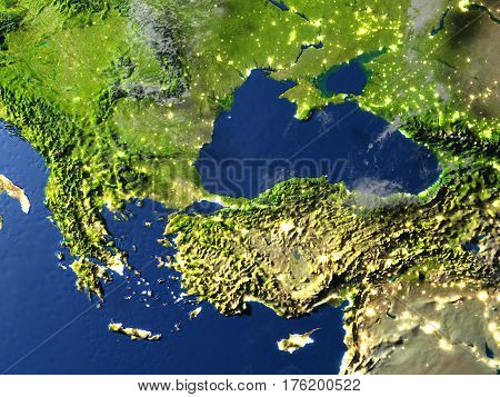 Turkey And Black Sea Region On Planet Earth