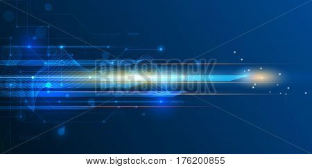 Vector Abstract science, futuristic, energy, technology concept. Digital image of light rays, stripes lines with blue light speed and motion blur over dark blue background