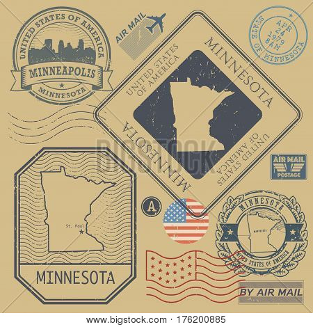 Retro vintage postage stamps set Minnesota United States theme vector illustration