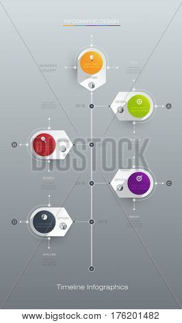Vector infographics timeline design template with label design and icons 5 options or steps. Can be used for content, business, infographic, digital network, flowchart, process diagram, time line
