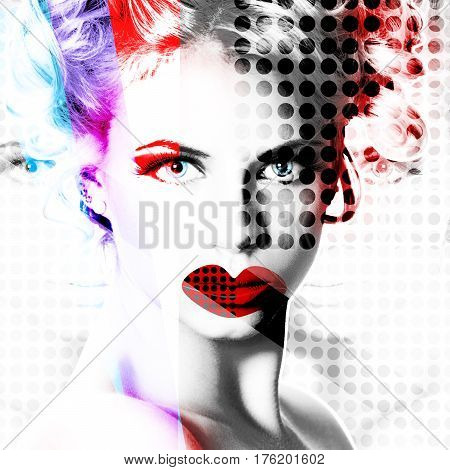 Modern Design Poster With A Portrait Of A Girl..