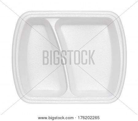 empty polystyrene container for fast food isolated on white background