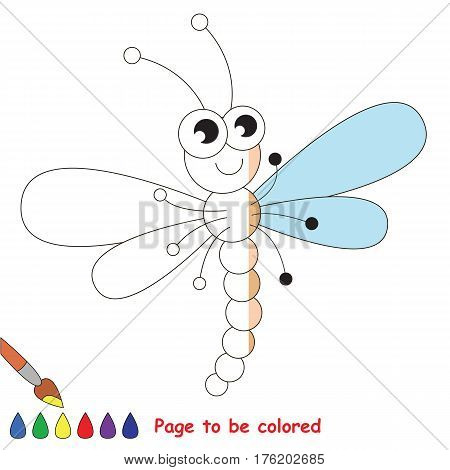 Funny dragonfly to be colored, the coloring book to educate preschool kids with easy kid educational gaming and primary education of simple game level.