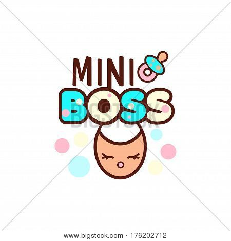 illustration of isolated baby nipple, bib with phrase mini boss on white. Vector style pacifier Kawaii emoticons for print on t-shirt, one piece body gift for kids.