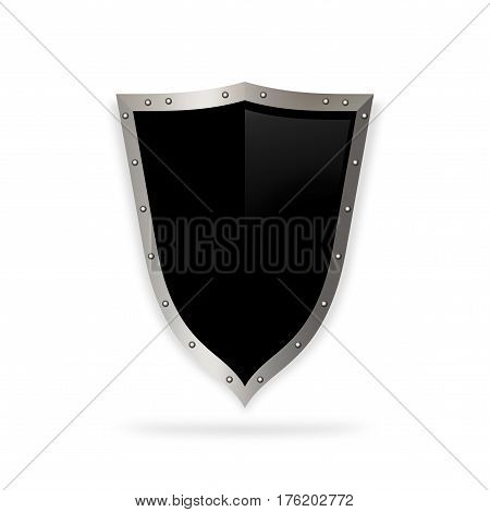 Medieval black shield with chrome riveted border on white background.