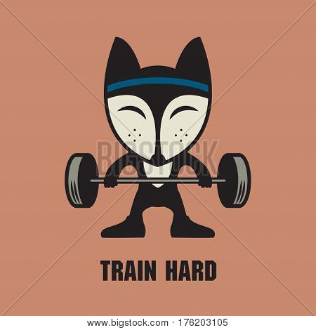 Fitness Aerobic and workout exercise in gym. Fox in gym. Gym sign or symbol. Vector illustration