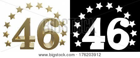 Gold number forty six decorated with a circle of stars. 3D illustration
