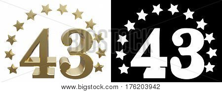 Gold number forty three decorated with a circle of stars. 3D illustration