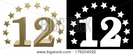 Gold number twelve decorated with a circle of stars. 3D illustration