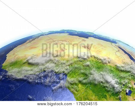 North Africa On Realistic Model Of Earth