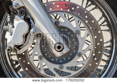 detail of disk brake system on a motorcycle