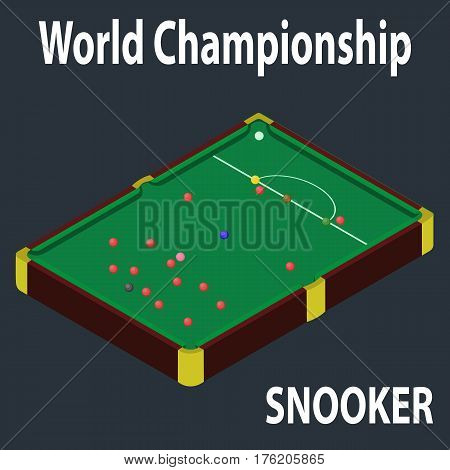Snooker table in isometric style. 3d billiard table. Isometric view for website. Billiard table with balls. World snooker championship.