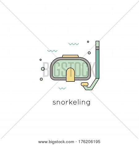 Snorkeling vector thin line icon, mask and snorkel. Colored isolated symbol. Logo template, element for travel agency products, tour brochure, excursion banner. Simple mono linear modern design.