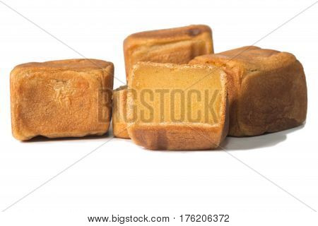square chinese cake isolate on white background