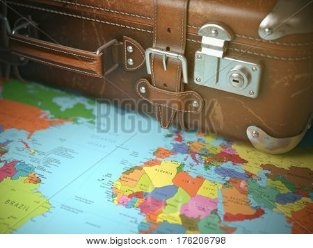 Travel and vacations background concept. Vintage suitcase on the world map. 3d illustration