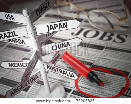 Work and travel immigration opportunity concept. Search for a job. Newspaper with jobs advertisement and signboard with names of countries. 3d illustration