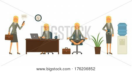 Cool Vector Flat Design Business Characters. Corporate Specialists Friendly Smiling. Woman Going To
