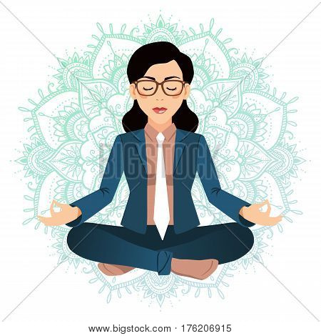 Vector Illustration Of Business Woman Sitting In Lotus Pose. Meditating Office Worker On Dreamy Mand