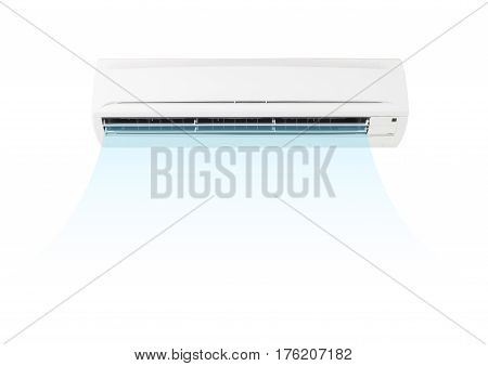Air conditioner part of HVAC system montage with cool air isolated on white background.