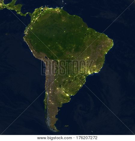South America At Night On Planet Earth