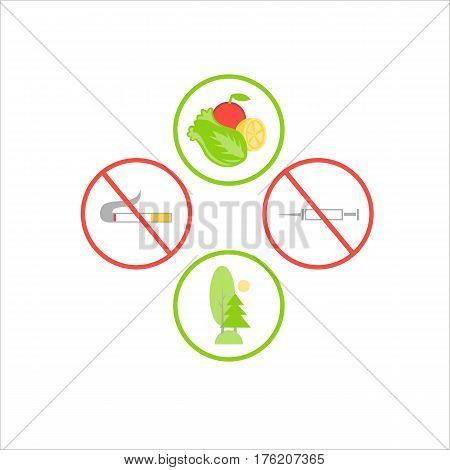 Symbols flat design icons set. Vector infographics elements. For a healthy lifestyle and contra bad habits. Against smoking and drugs, for healthy food and active recreation