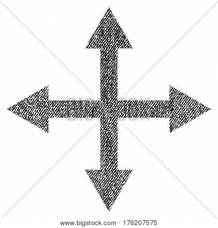 Expand Arrows vector textured icon for overlay watermark stamps. Fabric black vectorized texture. Symbol with scratched design. Rubber seal stamp with fiber textile structure.