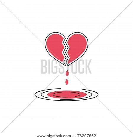 Vector thin line icon. Problems in couple. A broken bleeding heart. Metaphor of unhappy love or betrayal. Colored isolated symbol. Simple mono linear modern design.