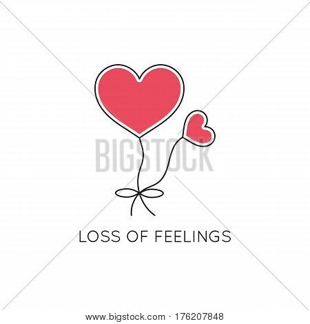 Vector thin line icon, problems in couple. Balloons in the shape of heart. Metaphor of loss of feelings. Colored isolated symbol. Simple mono linear modern design.