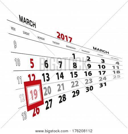 March 19, Highlighted On 2017 Calendar.