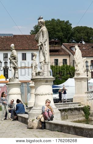 PADUA ITALY - MAY 3 2016: Statues on Piazza Prato della Valle Padua Italy.