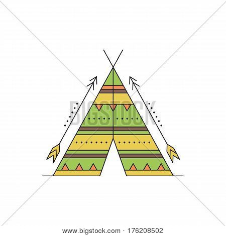 Tribal vector thin line icon, indian wigwam and arrows. Boho elements, bohemian style, ethnic american symbol. Colored isolated illustration. Simple mono linear modern design.