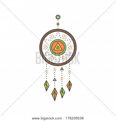 Tribal vector thin line icon, native indian talisman dreamcatcher. Boho element, bohemian style, ethnic american symbol. Colored isolated illustration. Simple mono linear modern design.
