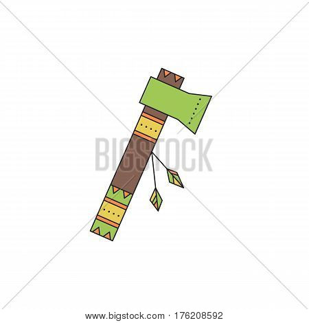 Tribal vector thin line icon. Tomahawk, native indian weapon. Boho element, bohemian style, ethnic american symbol. Colored isolated illustration. Simple mono linear modern design.