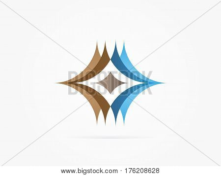 Vector Illustration Abstract fusion logo blue brown