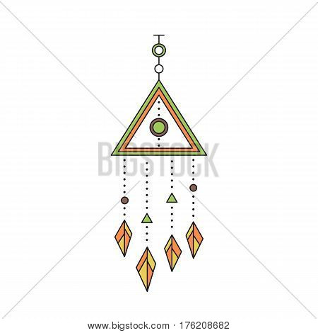 Tribal vector thin line icon, native indian talisman. Boho element, bohemian style, ethnic american symbol. Colored isolated illustration. Simple mono linear modern design.