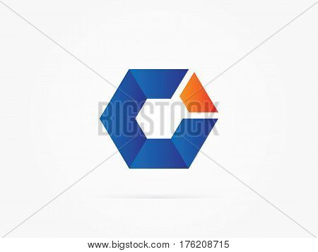 Vector Illustration Blue float Cube logo design icon you can use for Business, apps, website or presentation