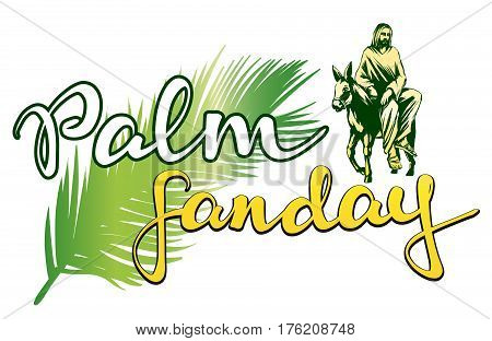 palm Sunday, Jesus Christ rides on a donkey into Jerusalem , symbol of Christianity hand drawn vector illustration sketch logo